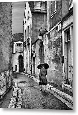 Pluie A Chartres #2 - Black And White Metal Print