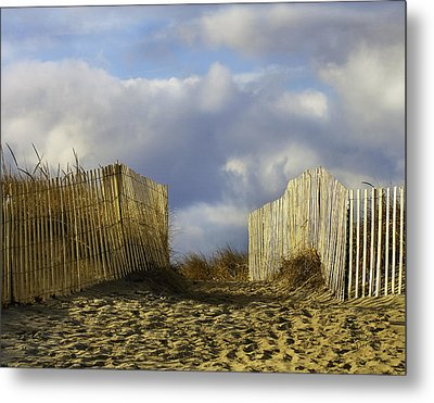 Metal Print featuring the photograph Plum Island Fence by Betty Denise