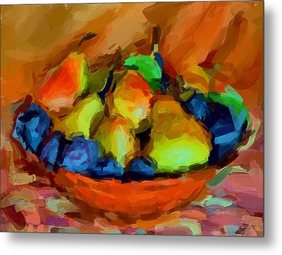 Plums And Pears Metal Print
