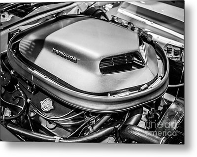 Plymouth Hemi Cuda Engine Shaker Hood Scoop Metal Print by Paul Velgos