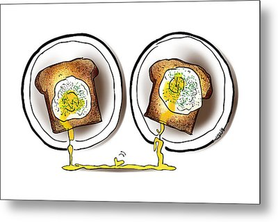 Poached Egg Love Metal Print by Mark Armstrong