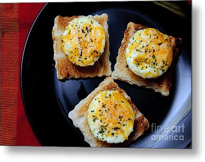 Poached Eggs On A Raft Metal Print by Andee Design