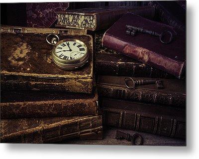 Pocket Watch On Old Book Metal Print