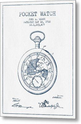 Pocket Watch Patent From 1916 - Blue Ink Metal Print by Aged Pixel
