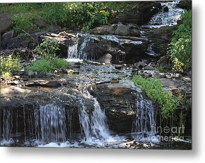 Poconos Waterfall Stream Metal Print by John Telfer