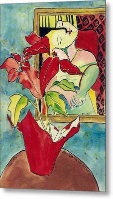 Poinsettia And Picasso Metal Print by Elaine Elliott