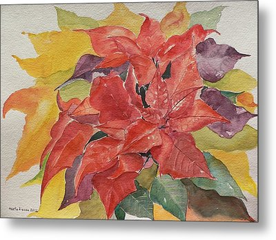 Metal Print featuring the painting Poinsettias by Geeta Biswas