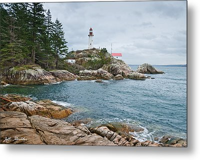 Metal Print featuring the photograph Point Atkinson Lighthouse And Rocky Shore by Jeff Goulden