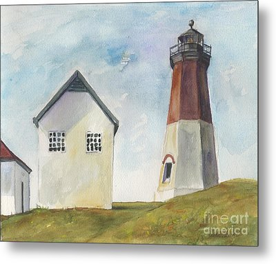 Metal Print featuring the painting Point Judith Light by Susan Herbst