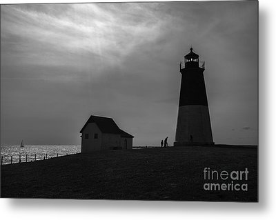 Point Judith Lighthouse Silhouette Metal Print by Diane Diederich