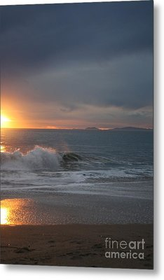 Point Mugu 1-9-10 Sun Setting With Surf Metal Print