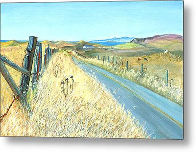 Metal Print featuring the painting Point Reyes Country Road by Asha Carolyn Young