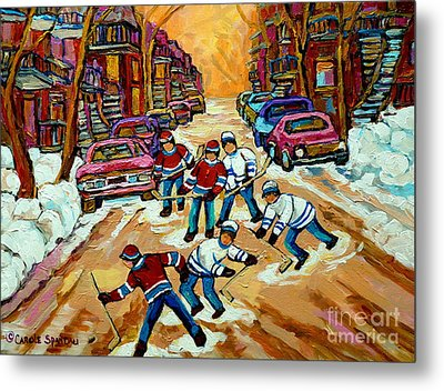 Pointe St.charles Hockey Game Winter Street Scenes Paintings Metal Print by Carole Spandau
