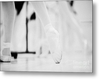 Pointed Toe In Ballet Slippers At A Ballet School In The Uk Metal Print by Joe Fox