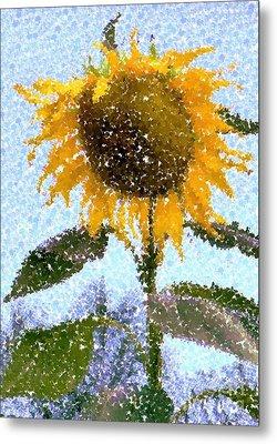 Pointillist Sunflower In Sun City Metal Print by Barbie Corbett-Newmin