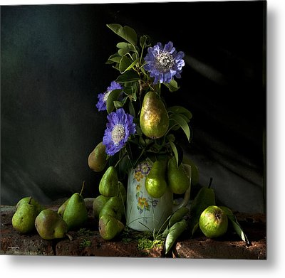 Poires Et Fleurs Metal Print by Theresa Tahara