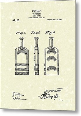 Poison Bottle 1915 Patent Art Metal Print by Prior Art Design