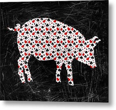 Poker Pig Metal Print by Flo Karp