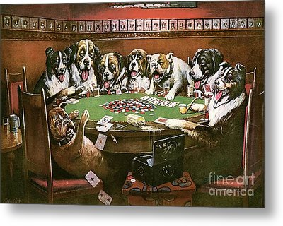 Poker Sympathy Metal Print by Cassius Marcellus Coolidge