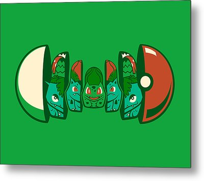 Metal Print featuring the digital art Poketryoshka - Grass Type by Michael Myers