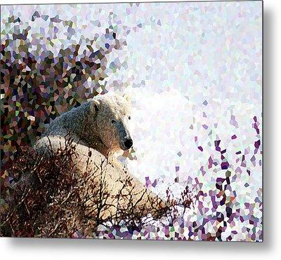Polar Bear In Willows Metal Print by Alice Ramirez