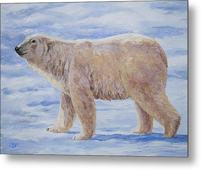 Polar Bear Mini Painting Metal Print by Crista Forest