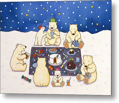 Polar Bear Picnic Metal Print by Cathy Baxter