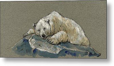 Polar Bear Sleeping Metal Print by Juan  Bosco