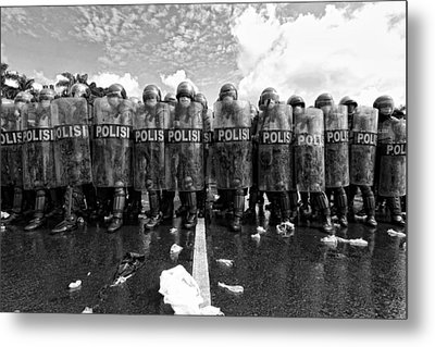 Police Barricades Metal Print by M Salim Bhayangkara