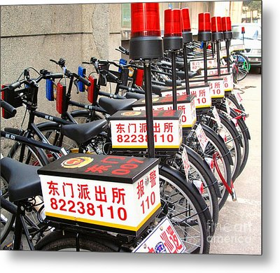 Police Bicycles Metal Print by Ethna Gillespie