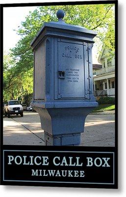 Police Call Box Milwaukee Metal Print