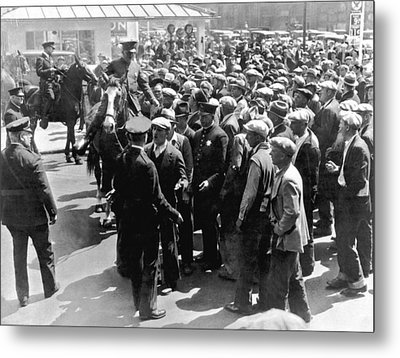 Police Confront Sf Strikers Metal Print