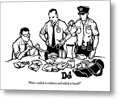 Police Detectives Search Through A Table Metal Print