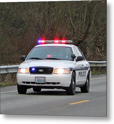 Police Escort Metal Print by E Faithe Lester