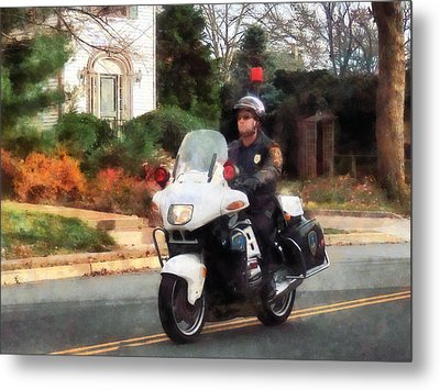 Police - Motorcycle Cop On Patrol Metal Print by Susan Savad