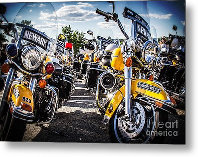 Police Motorcycle Lineup Metal Print by Eleanor Abramson