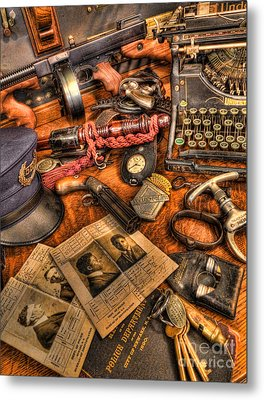 Police Officer - The Detective's Desk  Metal Print
