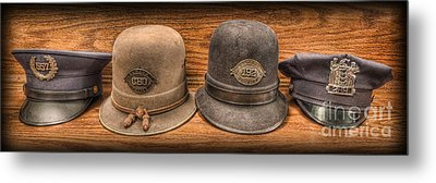 Police Officer - Vintage Police Hats Metal Print
