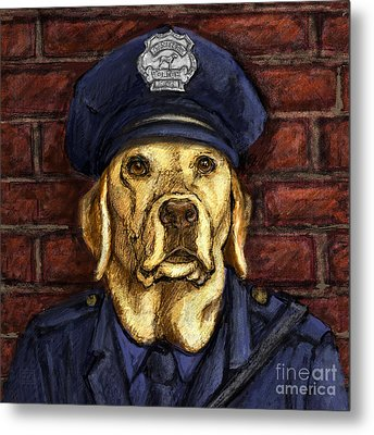 Police Officer Lab - Yellow Labrador Retriever Metal Print by Kathleen Harte Gilsenan