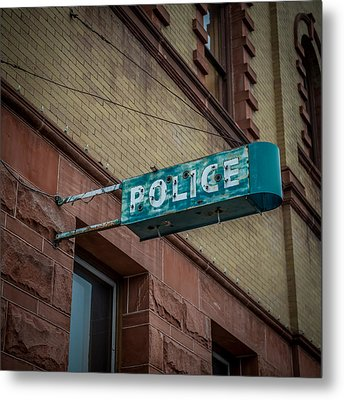 Police Station Sign Metal Print by Paul Freidlund
