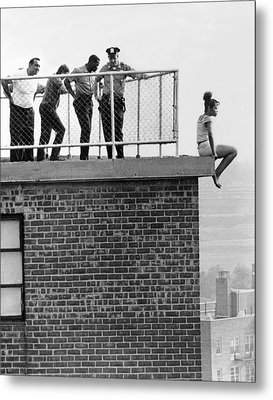 Police Thwart Jumper Metal Print by Underwood Archives