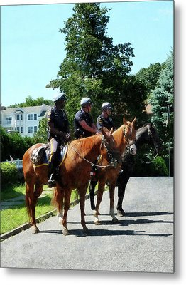 Policeman - Mounted Police Profile Metal Print by Susan Savad