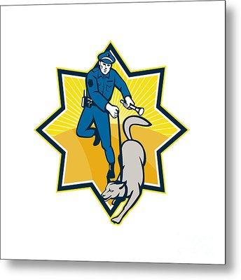 Policeman Police Dog Canine Team Metal Print by Aloysius Patrimonio