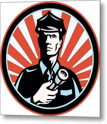 Policeman Security Guard With Flashlight Retro Metal Print by Aloysius Patrimonio