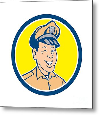 Policeman Winking Smiling Circle Cartoon Metal Print by Aloysius Patrimonio