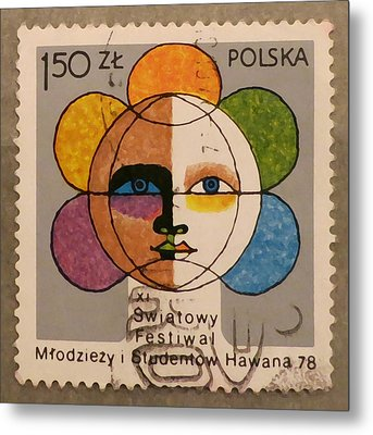 Polish Stamp - World Festival Of Youth And Students In Havana 1978 Metal Print by Patricia Januszkiewicz