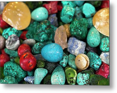 Polished Semi Precious Stones Metal Print
