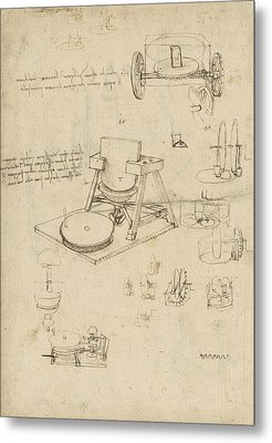 Polishing Machine Formed By Two Wheeled Carriage From Atlantic Codex Metal Print by Leonardo Da Vinci