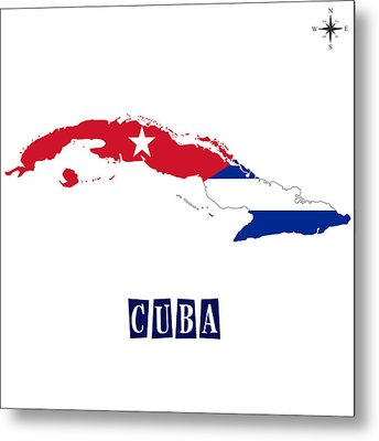 Political Map Of Cuba Metal Print by Celestial Images
