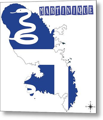Political Map Of Martinique Metal Print by Celestial Images